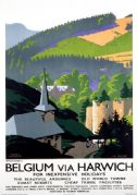 Belgium via Harwich, Ardennes. Vintage LNER Travel Poster by Frank Newbould